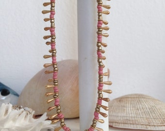 "38"" Long Coral Pink Seed Beads Necklace/ Coastal Style Necklace/ Rope Necklace / Layering Necklace/ Nautical Style"