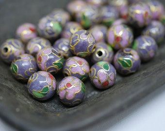 Chinese Cloisonne Beads 8mm Purple Cloisonne Bead Enamel Beads Metal Beads (6 beads) CL12