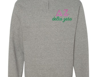 Delta Zeta Quarter Zip, Delta Zeta Pull Over, DZ quarter zip, Delta Zeta sweatshirt, sorority gift, sorority shirt, big little shirt