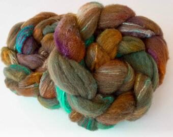 Hand dyed Shetland, Tussah silk, Hand dyed roving, Handspinning fibre, fiber, felt, spindling, felting materials, felting projects