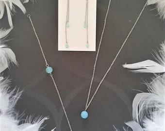 Stainless steel and set aquamarine