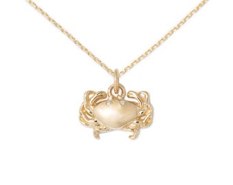 Crab Necklace, 14k Gold