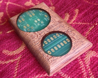 Glow in the dark circuit board brooch