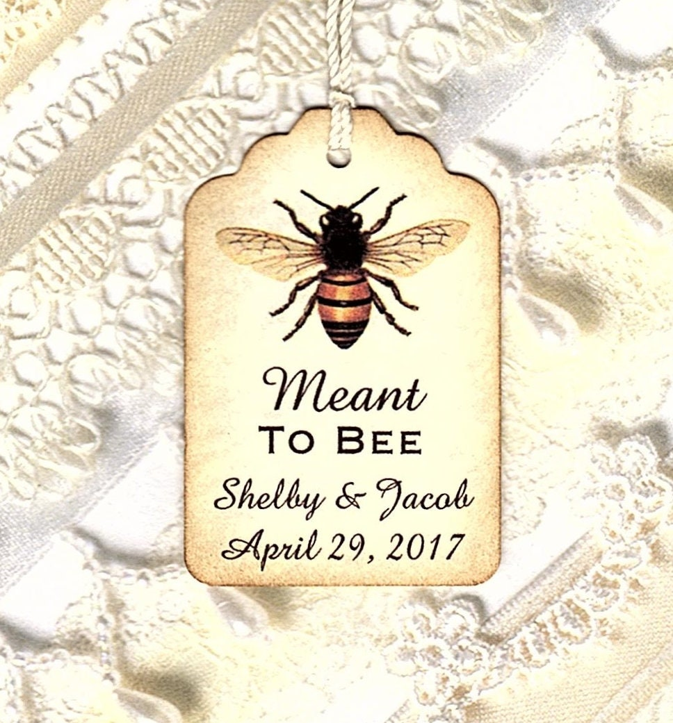 100 Meant to BEE Personalized Handmade Tags-Wedding Wish