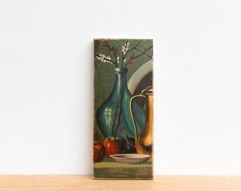 Paint by Number Art Block 'Blue Vase' - food, brass, apples, blue glass, vintage art
