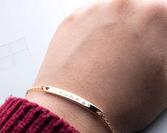 Hand stamped Name Bar bracelet/ Gold Silver Rose Gold plated / Dainty Personalized Bar/ Birthday Christmas Bridesmaids Gift