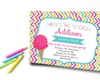 Ice Cream Invitation, Ice Cream Birthday Invitation, Ice Cream Party Invitation, Chevron Birthday Invitation