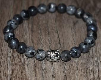 Buddha Bracelet, Natural Labradorite Bracelet, Spectrolite Bracelet, Larvikite Bracelet, Healing Bracelet, 8mm 7 Chakra Bracelet