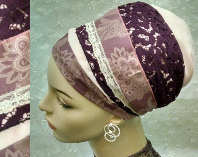 Featured listing image: Elegant plum sinar tichel, head scarf, hair snood, hair scarf, Jewish hair covering, alopecia, weddings, tichels, head wrap, chemo