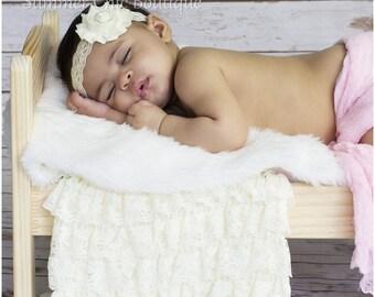Ivory Headband, Baby Headband, Infant Headband, Newborn Headband, Ivory Baby Headband, Ivory Lace Headband, Baptism Headband