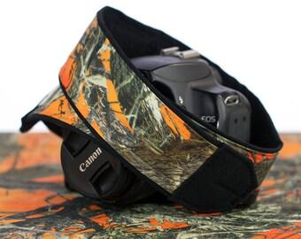 dSLR Camera Strap,Blaze Orange Camo, Camouflage, SLR, Canon camera strap, Nikon camera strap, Pentax, Sony etc, Mirrorless camera, 281