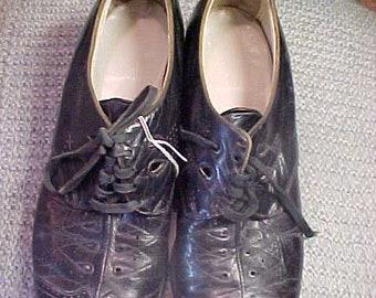 """Vintage Black Leather 30s shoes, 1 1/2"""" Heel  # 3601"""
