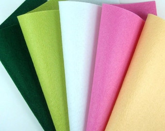 5 Colors Felt Set - Lotus - 20cm x 20cm per sheet