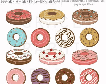 Donut CLIPART, Food Clipart, Donut clipart, Baking clipart, hand drawn digital illustrations, instant download eps COFFEE clipart set