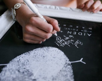 Chalkboard Wedding Fingerprint Guest Book Alternative with Your Heart Thumbprint Unique Black and White Guestbook Wedding Ideas