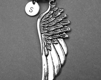 Angel Wing keychain, Large angel wing charm, Wing keychain, Wing charm, personalized keychain, initial keychain, initial charm, monogram