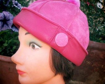 Leather/ Suede Beanie in Hot Pink, Womens Cloche Style w/ Fuzzy PomPom
