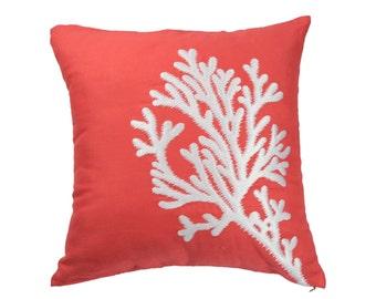 Nautical Coral Pillow Cover, Coral embroidery Orange Linen Pillow Case, Nautical Decor, Cottage beach pillow, Coral Decor, Nautical Pillow