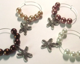 Starfish Wine Charms Set of 4
