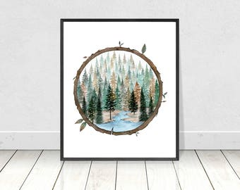 Forest of Pine Trees in a Tree Stamp Design Painting Art Print- Fine Art Giclee Print- Wall Art- Home Decor- Poster 8X10 to 18X24 Prints