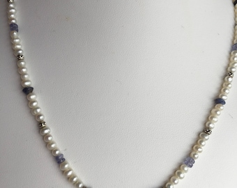 Necklace — Sterling Elephant Charm, Iolite, Tanzanite, Freshwater Pearls