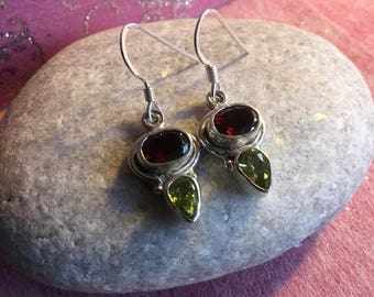 Sterling Silver Earrings featuring Garnet and Peridot faceted Gemstones