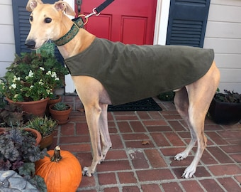 Greyhound Dog Coat, XL Dog Jacket, Olive Green Corduroy with Camo Fleece Lining