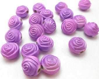 20 Purple Flower Rose Acrylic Beads 12mm (H9224)