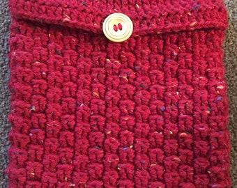 Handmade Crochet Hot Water Bottle Cover / Hottie Cover - Red