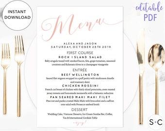 Blush Wedding Menu Template, Printable Menu, Instant Download, Editable Menu