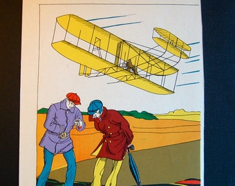 Children's Book Illustration, Timing the Flight, History of Flight and Aircraft Vintage Double Sided