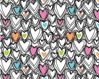 Pink and Black Scribble Hearts Cotton Lycra Knit fabric by Springs Creative