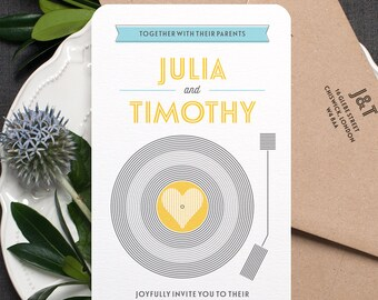 Retro Wedding Invitation / 'Vinyl Record' Music Themed Wedding Invite / Yellow Grey Light Blue / Custom Colours Available / ONE SAMPLE
