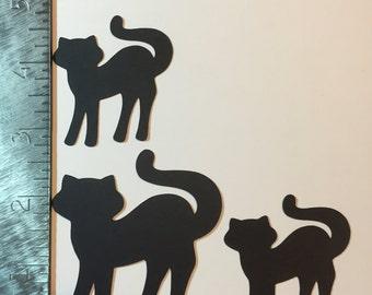 3 Black cat silhouette die cuts
