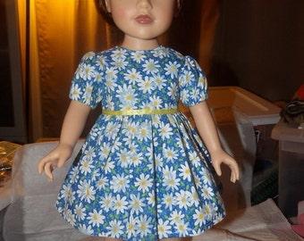 Blue & white daisy floral full dress for 18 inch Dolls - ag235