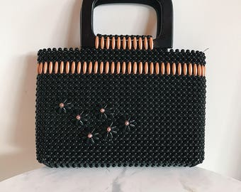 vintage beaded handbag with wood handles // black and copper