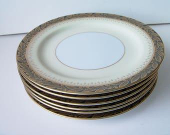 "6 Vintage Noritake dessert plates 7.5""W, Japan (#EV237)"