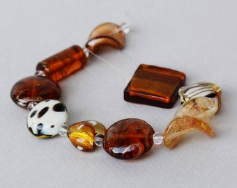 Lampwork Bead Set #1 - Golden Colors - Jewelry Making - Beading