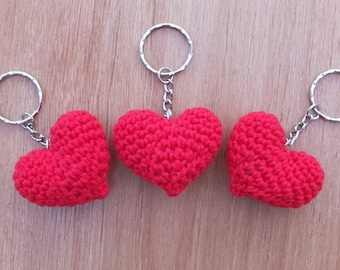 Crochet Heart Keyring by Little Gems Crochet. Perfect for Valentines Day