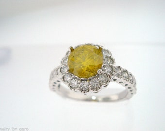 2.02 Carat Fancy Yellow Diamond Engagement Ring 14K White Gold Certified Handmade