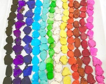 Magnesite - howlite slab Color stone -1.2mm hole Magnesite beads slab slice wholesale supply freeform stone Bourbon style bangle Turquoise