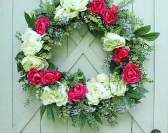 Summer Wreath ~ Wedding Wreath ~ Peony Wreath ~ Modern Farmhouse ~ Floral Wreath ~ Door Wreath ~ Summer Decor ~ Wedding Wreath