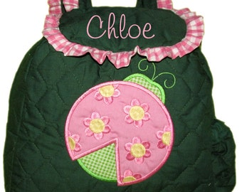 LADYBUG Toddler Girls Backpack  CUSTOM HANDMADE comes with Ladybug, Choice of Color,Name,Cup Pocket,Trim choice