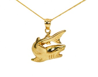 10k Yellow Gold Shark Necklace