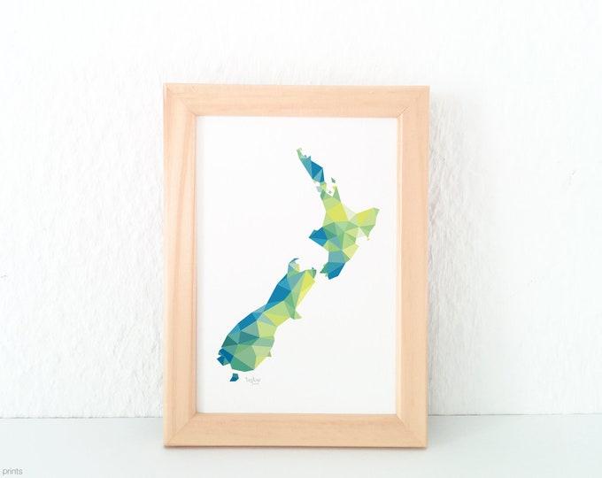 New Zealand map, Kiwi map, Aotearoa map, New Zealand poster, Geometric map, New Zealand map art, A2 map, Kiwiana map, New Zealand map print