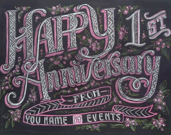 Happy Anniversary Chalkboards customized for Parties