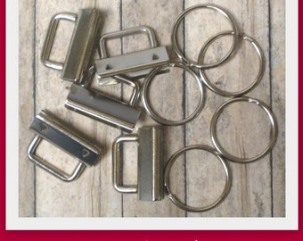 1.25 Inch Nickel Rectangular Top Key Fob Hardware- Set of 10 - Use to make mini key fobs and wristlets