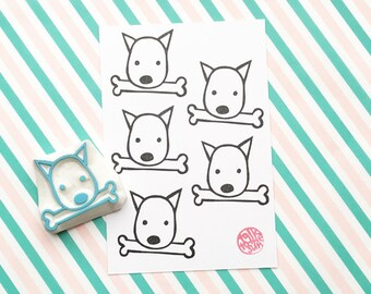 puppy dog rubber stamp | shiba inu stamp | dog with bone | card making | diy birthday christmas | hand carved stamp by talktothesun