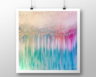 The Love Frequency | Abstract Art Print | Abstract Painting Pastel Art Modern Contemporary Blue Pink Turquoise Silver Peaceful Zen