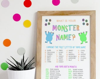 What is Your Monster Name? / Birthday / Party / Modern / Kid / Toddler / Printable